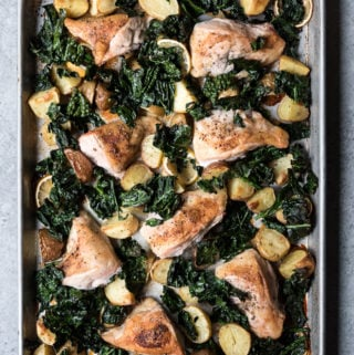 Tuscan Sheet Pan Chicken with Potatoes and Kale