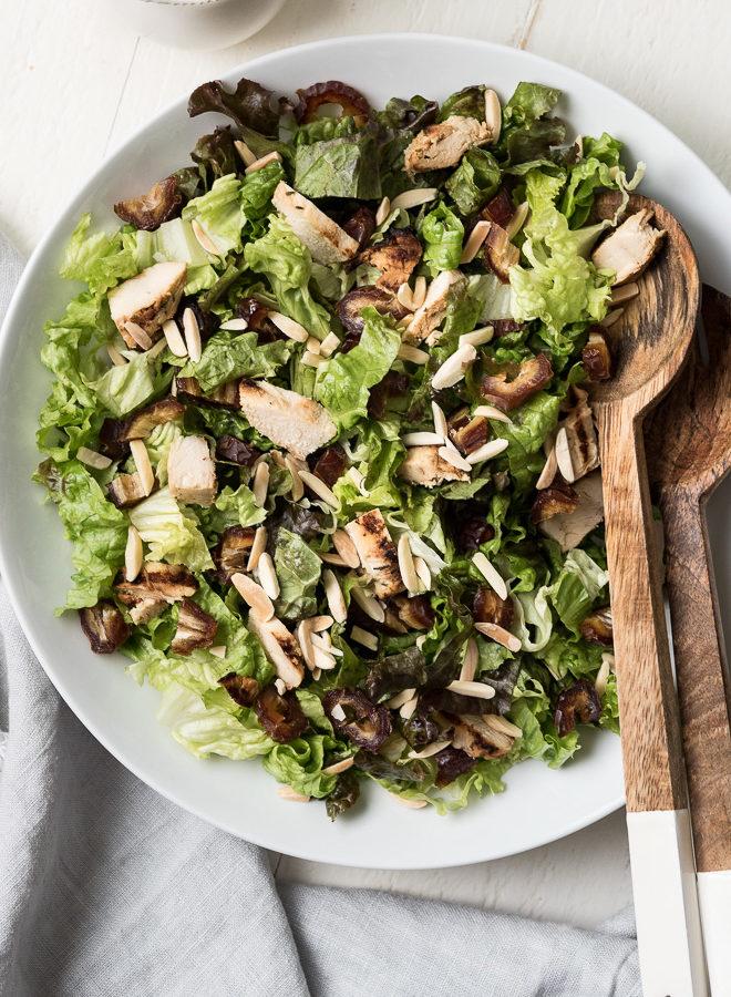 grilled chicken, date, & almond salad