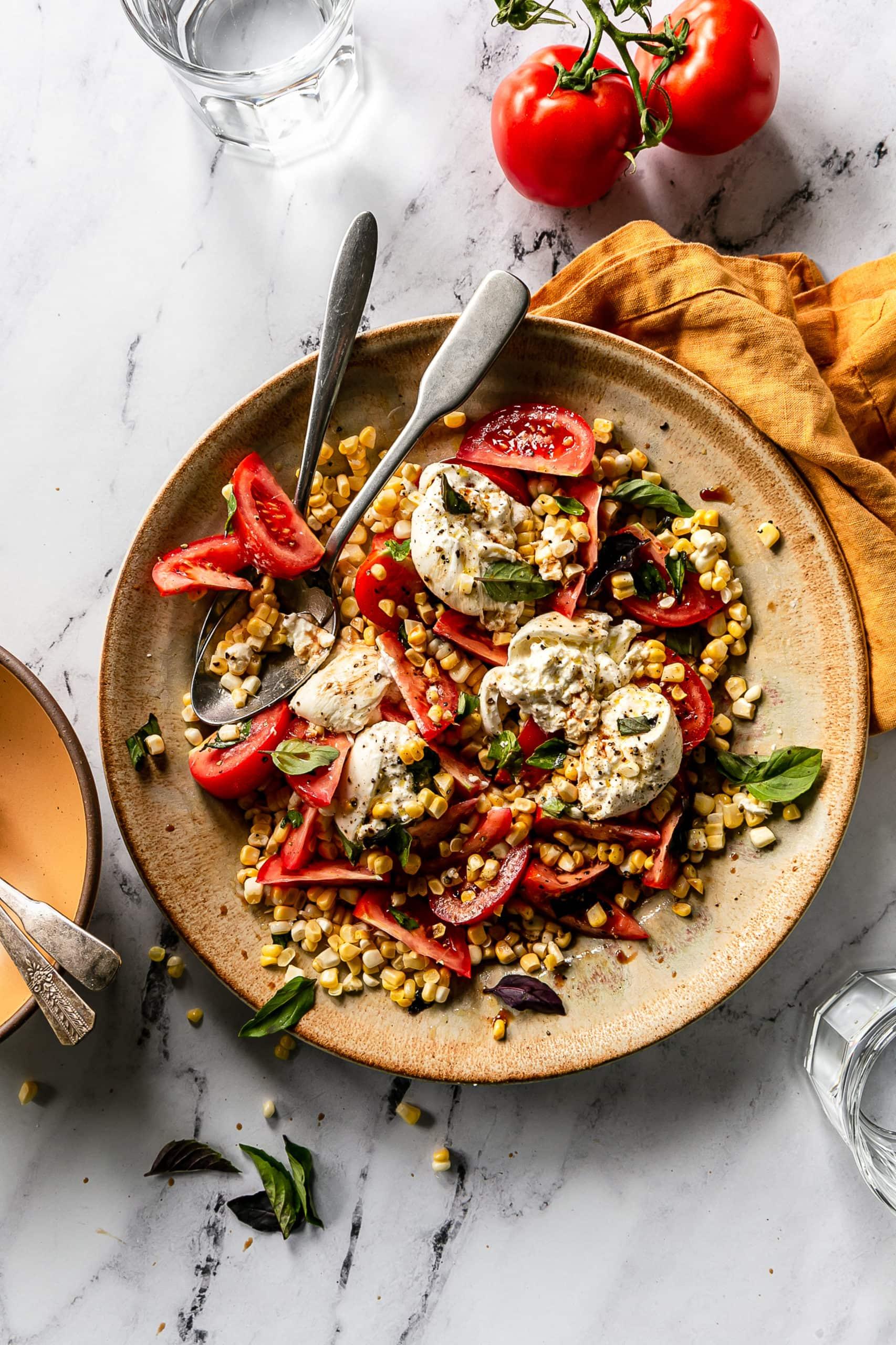 tomato, fresh corn, burrata salad