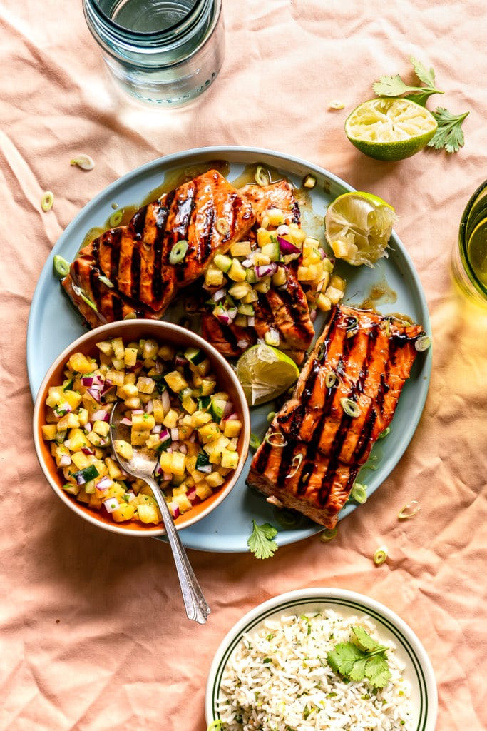 Teriyaki Salmon with Pineapple Salsa