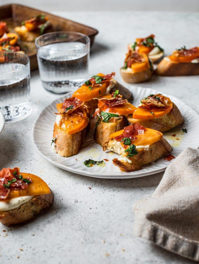 Persimmon Crostini with Crispy Prosciutto and Whipped Ricotta